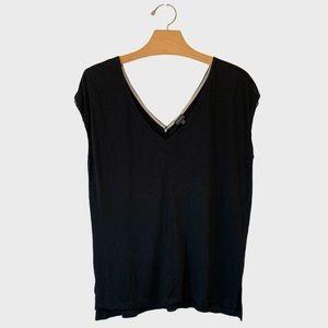Aritzia T Babaton Black V Neck Blouse Size S